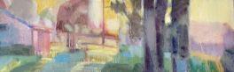 Dawn in La Crabouille, oil on canvas 20 x 50