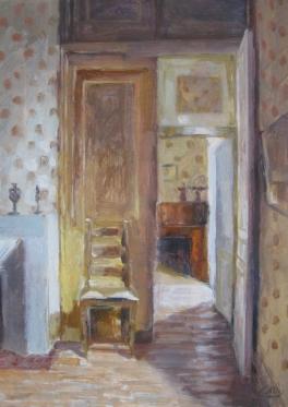Dining room Château Fongrenier. Oil on card. 30x40