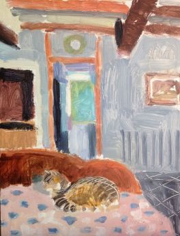 Cat on the bed, oil on board 18 x 24