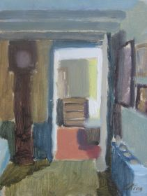 Lounge in Chipping Norton, oil on board, 18 x 24