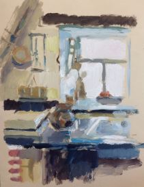 Merits kitchen, oil on paper, 40 x 30