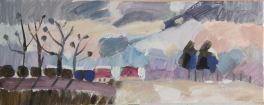 Wintry meadow, oil on canvas 20 x 50