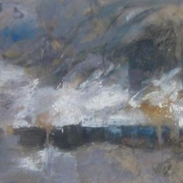 Stormy weather, mixed media on canvas 40 x 120