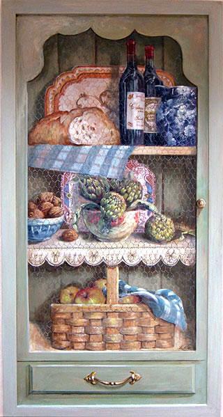 Trompe l'œil door of electricity cupboard, 1mx0.60