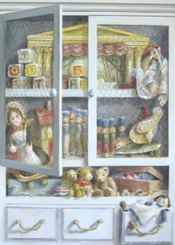 Trompe l'œil toy cupboard. Oil on canvas. 70x50