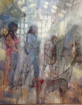 stallholders biding their time: mixed media, oil and charcoal on canvas 80x100
