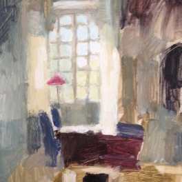 the pink lampshade: oil on paper mounted on board 24x30