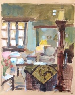 a window in the salon: oil on paper mounted on board 24x30