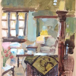 a window in the salon: oil on paper mounted on board 24x30