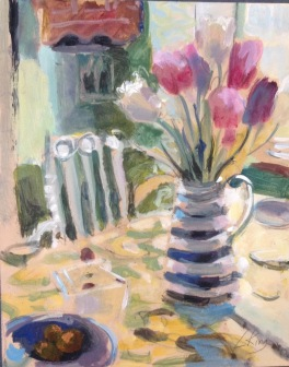 Tulips: oil on paper mounted on board 24x30