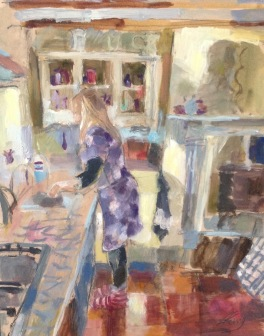 Lorraine washing up: oil on paper mounted on board 24x30