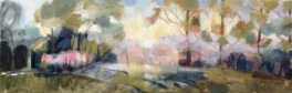 dawn in the field: oil on canvas 20x50