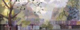dawn at la crabouille: oil on canvas 20x50